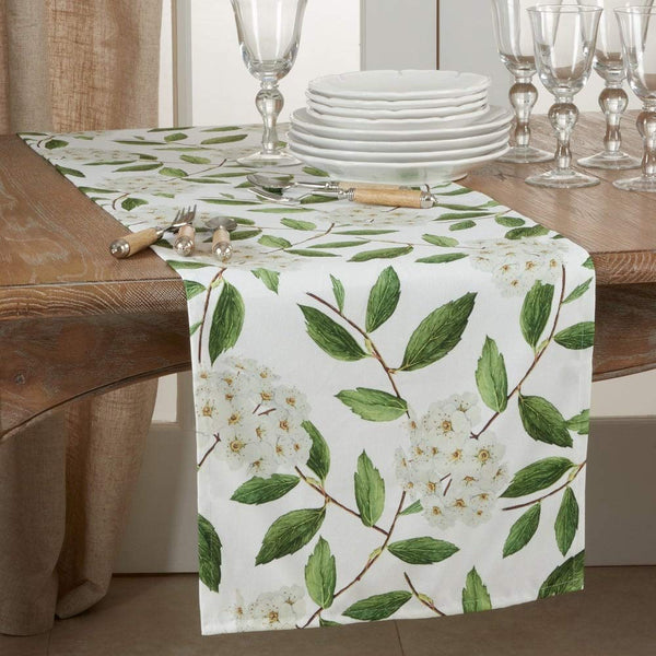Fennco Styles Floral Design Table Linen Collection - White Green Table Cover for Home Décor, Dining Table, Banquets, Holidays and Special Occasions