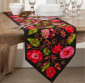 Fennco Styles Suzani Design Embroidery Cotton Table Runner 16 x 72 Inch