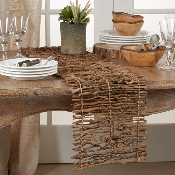 Fennco Styles Unique Coconut Stick Twig Table Runner 12 x 72 Inch