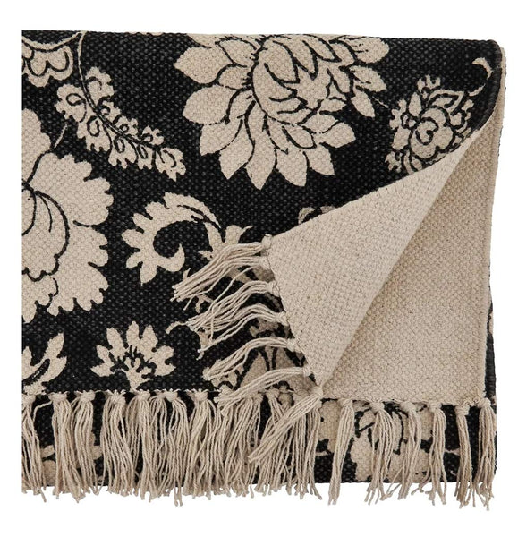 Fennco Styles Fringed Floral Cotton Table Runner 16 x 72 Inch - Black Table Cover for Home Décor, Dining Table, Banquets, Holidays and Special Events