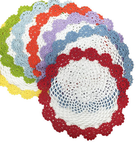 Fennco Styles Handmade Two Tone Floral Crochet Tray Cloth Doily, 9-inch Round, 2 Pieces, 7 Colors