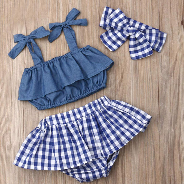 Infant Baby Girl Denim Ruffle Top and Checkered Skirt with Headband 3pcs