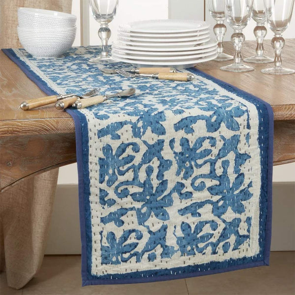 Fennco Styles Unique Floral Kantha Stitch Cotton Table Runner 14 x 72 Inch