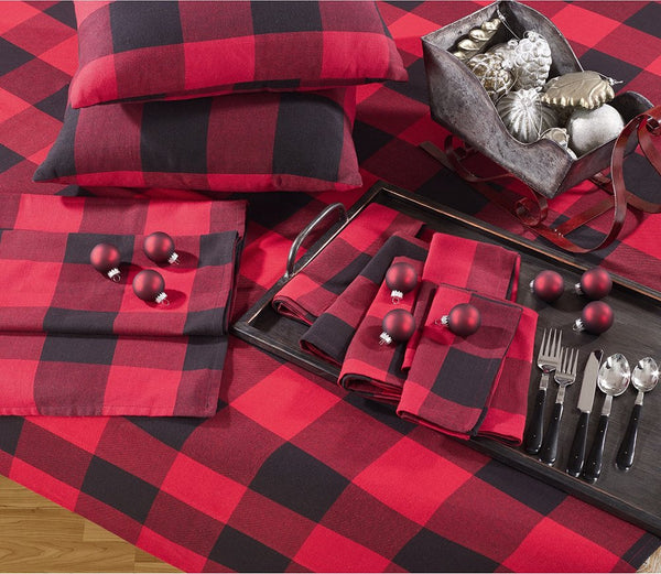 "Fennco Styles Red Buffalo Check Plaid Cotton Christmas Tree Skirt 53"" Round"