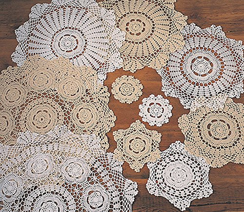 Fennco Styles Handmade Crochet Lace 18-inch Cotton Doilies - 2-Pack
