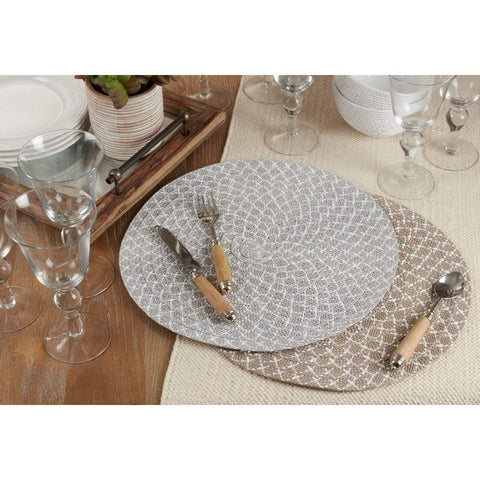 Fennco Styles Woven Design Placemats 15 Inches Round, Set of 4