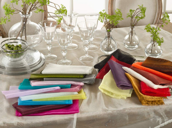 Fennco Styles Sheer Decorative Organza Dinner Napkins, 20-inch Square, Set of 12
