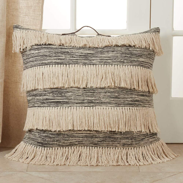Two Tone Tassel Design 30 Inch Square Cotton Decorative Floor Throw Pillow