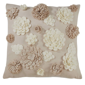 Fennco Styles 3D Felt Flowers Decorative Throw Pillow 16x16 Inch