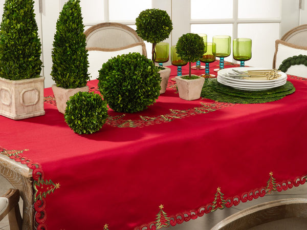 Fennco Styles Pandora Collection Holiday Christmas Tree Tablecloth