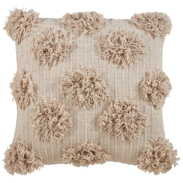 Fennco Styles Grand Pompon Collection Contemporary Embroidered Cord 100% Pure Cotton 18 x 18 Inch Decorative Throw Pillow and Case - Variety Color Decor Pillow for Couch, Bedroom and Living Room Décor