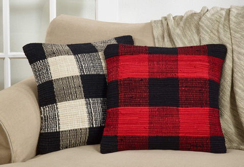 Gênes Collection Buffalo Plaid Chindi 100% Cotton Throw Pillow
