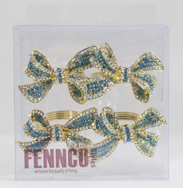 Fennco Styles Stunning Crystal Bowknot Gold-Plated Napkin Rings Wedding Holiday Table Decoration - Set of 4