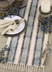 Fennco Styles Embroidered Block Print Tasseled Cotton Table Runner