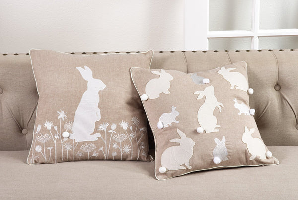 Fennco Styles Handmade Cottontail Rabbit Embroidered Throw Pillow