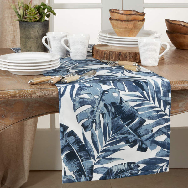 Vibrant Tropical Leaf Design Table Runner 16 x 72 Inch