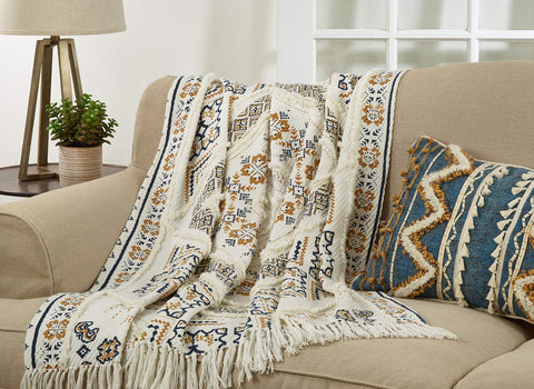 Fennco Styles Bohemian Block Print Tufted 100% Cotton Home Décor