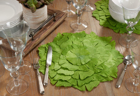 Fennco Styles Unique Ginkgo Leaf Placemats 14 Inches Round, Set of 4