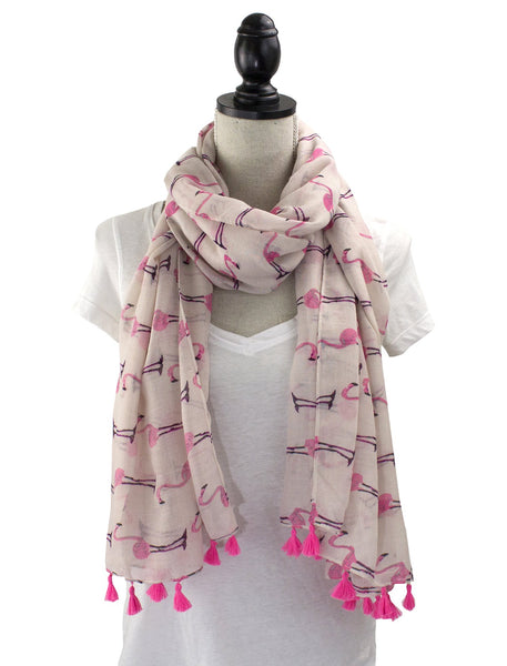 Lightweight Womens Flamingo Tassels Soft Cotton Scarf Shawl