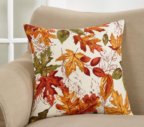 Warm Embroidered Autumn Leaves 100% Cotton Throw Pillow