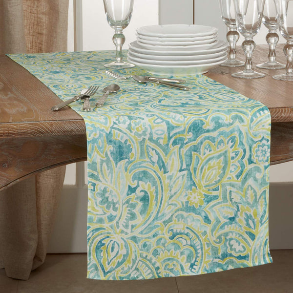 Fennco Styles Traditional Distressed Paisley Design 100% Linen Table Collection