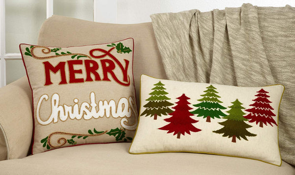 Fennco Styles Arbres Collection Farmhouse Merry Christmas Appliqué Beaded 100% Cotton 18 x 18 Inch Pillow - Natural Throw Pillow Case for Couch, Living Room and Holiday Décor