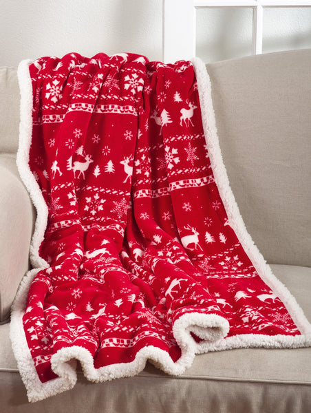 Fennco Styles Christmas Sweater Throw Blanket with Sherpa