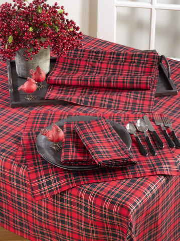 Fennco Styles Highland Holiday Red & Black Plaid Design Table Linens Collection