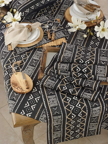 Fennco Styles Tribal Mud Cloth 100% Cotton Placemats 14 x 20 Inch, Set of 4
