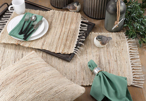 100% Jute Chindi Tassel Design Farmhouse Table Linen Collection