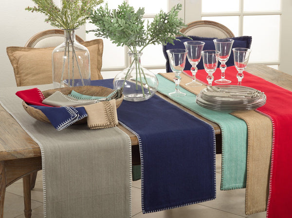 Fennco Styles Celena Collection Contemporary Whip Stitched 100% Pure Cotton Table Linens