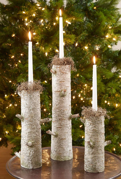 Fennco Styles Everest Collection Lodge Tree Bark Design Variety Height Candlestick