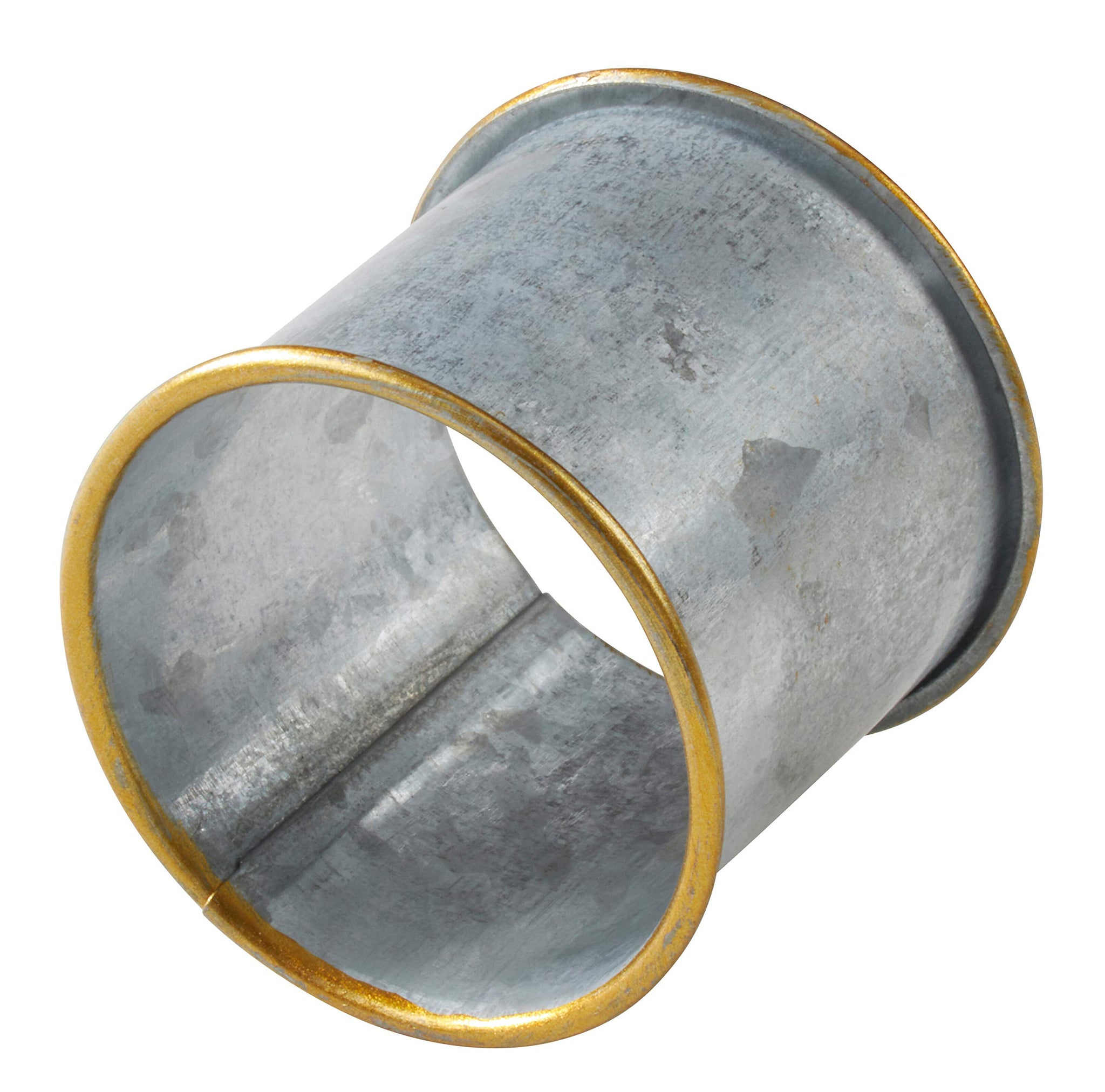 Fennco Styles Sousplat Collection Farmhouse Galvanized Metal Napkin Rings, Set of 4