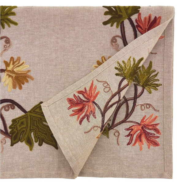 Fennco Styles Fall Leaf Embroidery 100% Cotton Table Runner 16 x 72 Inch - Natural Table Cover for Home Décor, Dining Table, Banquets, Holidays and Special Events
