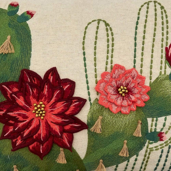 Embroidered Cactus & Flowers Cotton-Linen Decorative Throw Pillow