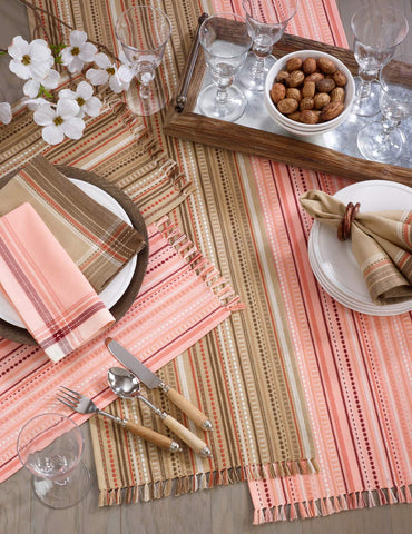 Fennco Styles Classic Stitched Line Nature Or Salmon Color Table Linen Collections