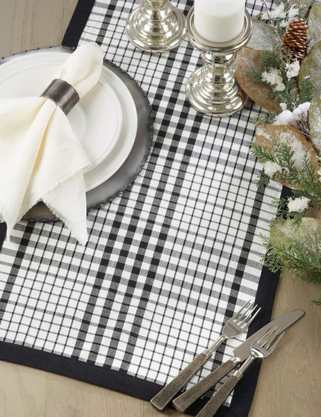 Fennco Styles Timeless Plaid with Banded Edge Design 100% Cotton Table Runner 16 x 72 Inch