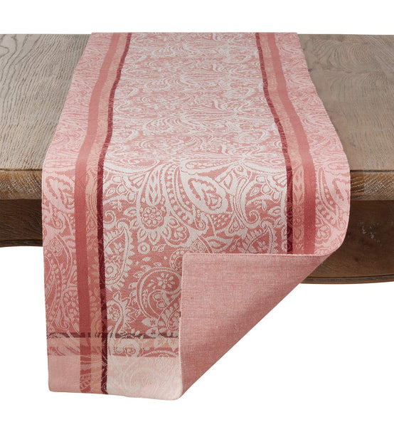 Fennco Styles Clodia Collection Classic Paisley Jacquard Striped 100% Cotton Table Linens