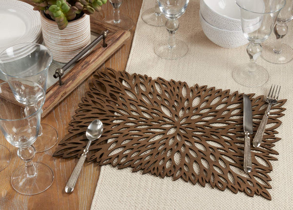 Fennco Styles Unique Engineered Wood Laser Cut Placemats, Set of 2 - Brown Modern Traycloth Table Mats for Home, Dining Room Décor, Banquets, Indoor Outdoor and Special Events