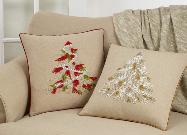 Fennco Styles Beaded Christmas Tree 100% Cotton Decorative Throw Pillow Cover 18 x 18 Inch - Beads Pillow Case for Holiday Décor, Couch, Living Room and Bedroom Décor