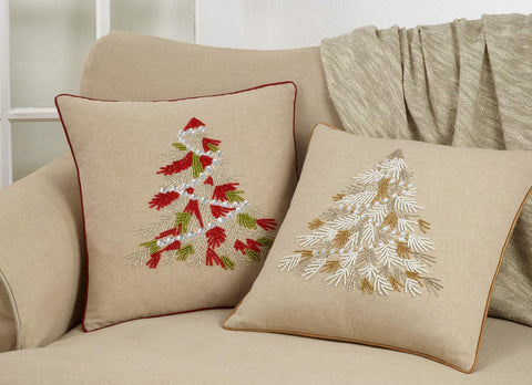 Beaded Christmas Tree 100% Cotton Decorative Throw Pillow