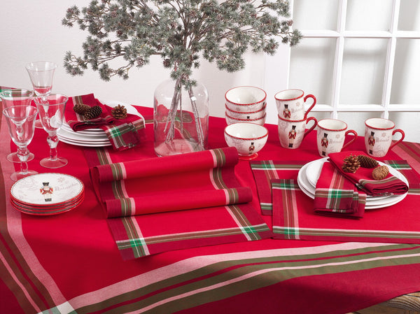 Fennco Styles Holiday Tartan Design Cotton Tablecloth