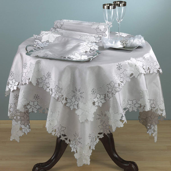 Elegant Embroidered and Cutwork Snowflake Tablecloth Linen Collection