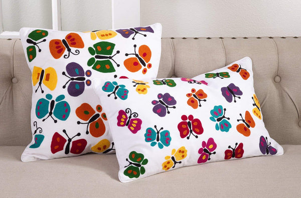Fennco Styles Colorful Embroidered Butterfly Design Decorative Throw Pillow