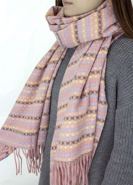 StylesILove Women Girl Woven Checkered Stitch Tassel 100% Cashmere Scarf Ultra Warm Scarf for Autumn and Winter Season