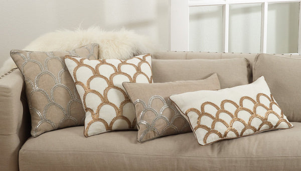 Fennco Styles Arch Design Embroidered Cotton Down Filled Throw Pillow