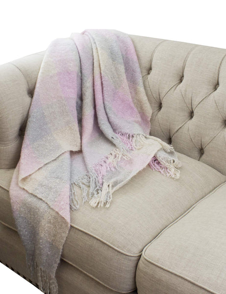 Fennco Styles Cozy Faux Mohair Plaid Fringed Throw Blanket