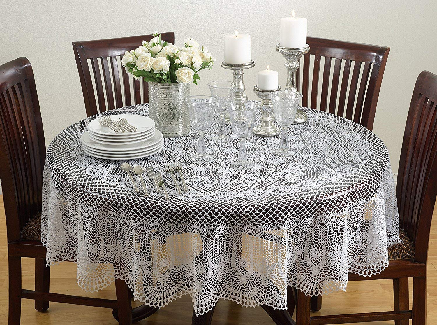Classic Crochet Vinyl Tablecloth, 2 Colors, 72-inch Round (White)
