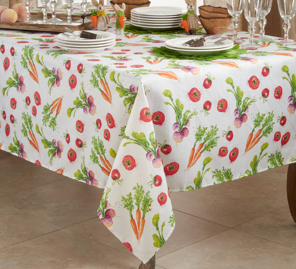 Fennco Styles Garden Veggies Watercolor Print Table Linen Collection for Home, Dining Room Décor, Banquets and Outdoor Events
