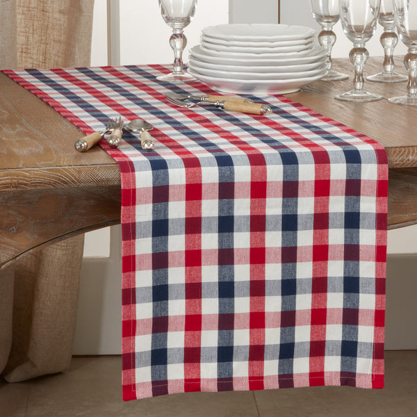 Fennco Styles Casual Gingham Check 100% Cotton Table Linen Collection